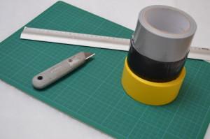 Een yogamat maken van duct tape